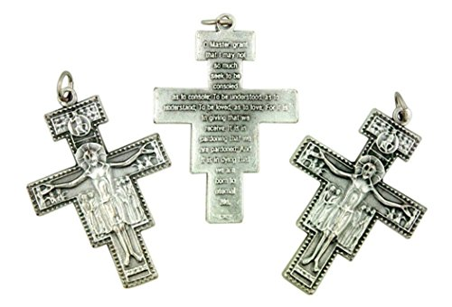 Silver Tone Saint Francis San Damiano Rosary Cross Crucifix, 1 7/8 Inch, Lot of ()