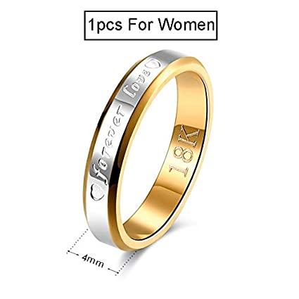 JEWH Wedding Couple Rings for Women & Men - Engagement Stainless Steel Gold-Color Forever