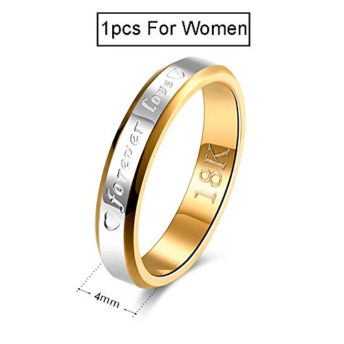 Amazon.com: JEWH Wedding Couple Rings for Women & Men - Engagement Stainless Steel Gold-Color Forever Love Jewelry - Fashion Ring - Lover Gift No Fade (for ...