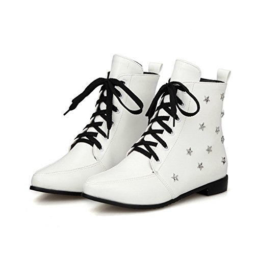 AllhqFashion Womens Pu Low Top Solid Lace-Up Low Heels Boots White LJwYhAg
