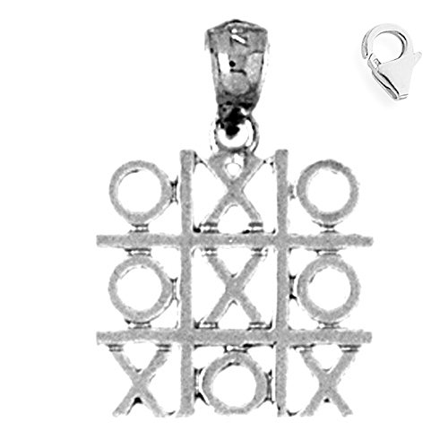 (Jewels Obsession Tic Tac Toe Pendant | Sterling Silver 22mm Tic Tac Toe with 7.5