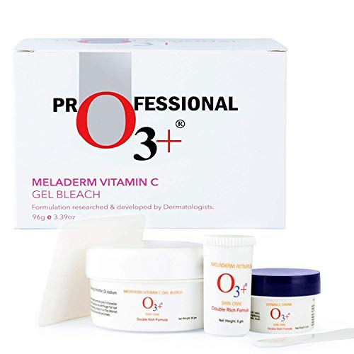 O3+ Meladerm Vitamin C Gel Bleach for Skin Whitening and Hair Lightening, 96g