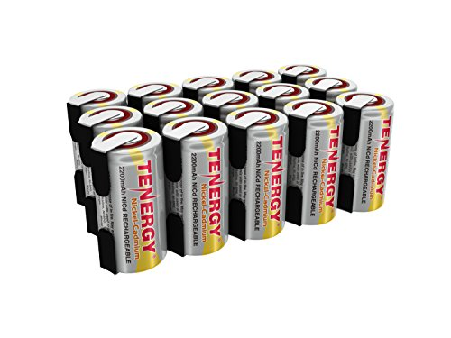 C NiCd Battery for Power Tools, 1.2V Flat Top Rechargeable Sub-C Cell Batteries with Tabs, 15-Pack ()