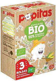 Bio palomitas para microondas al punto de sal 100% ecológico sin gluten pack 3x80 g estuche 240 g: Amazon.es: Alimentación y bebidas