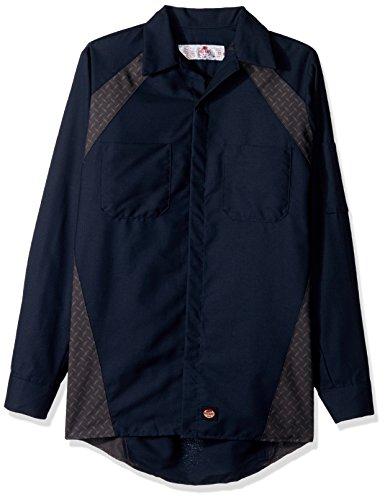 (Red Kap Men's Diamond Plate Long-Sleeve Work Shirt, Navy X-Large)