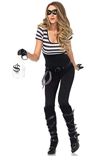 Leg Avenue Women's 5PC.Bank Robbin' Bandit Catsuit, Black/White, Medium
