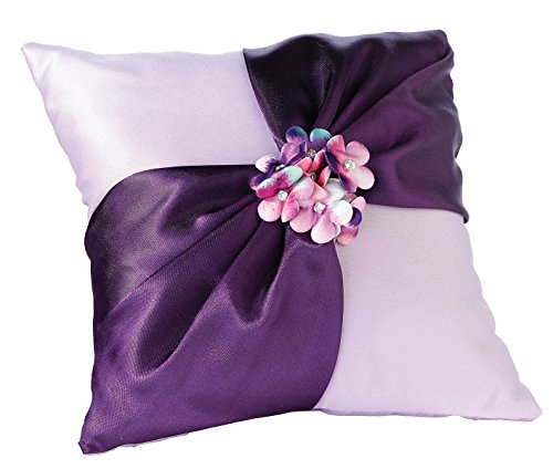 - Lillian Rose Purple Flower Wedding Ring Pillow