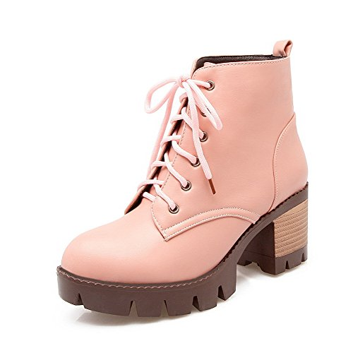 Pink up Heels Kitten Solid Soft Low Material WeiPoot Women's top Lace Boots SPZqxn5RW