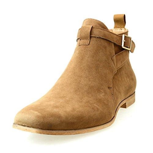 [AN by LUCIUS Men's Riding Boots Jodhpur Boots Ankle Boots Buckle Plain Toe Side Zipper Beige 40 EU (US Men's 8 M)] (Plain Buckle)