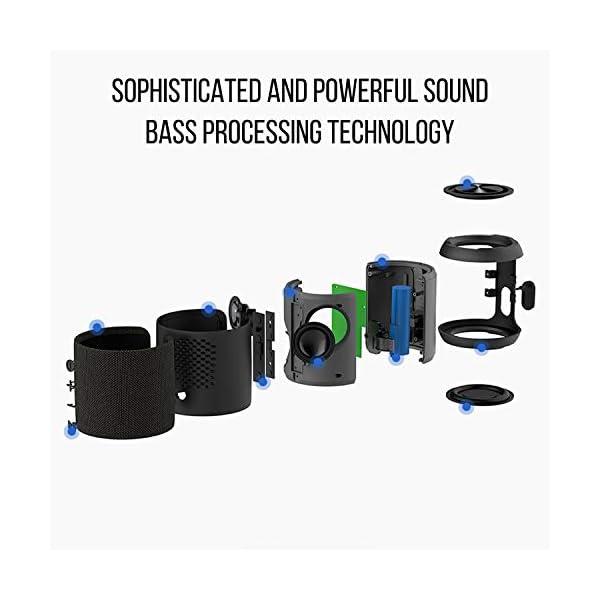 Enceinte Bluetooth Portable, 20W Enceinte Bluetooth Waterproof Audio HD, TWS Haut Parleur Bluetooth 5.0 Pilote Double avec Son 360°, 16 Heures Autonomie Mains Libres Téléphone Support FM, AUX, TF-Noir 4