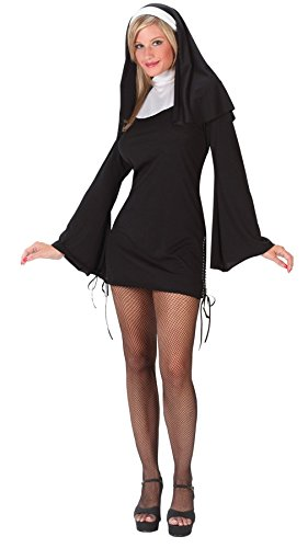 Fun World Women's Religious Sexy Deluxe Naughty Nun Halloween Costume, Black, Medium/Large