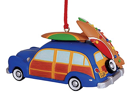 Woody Surfboard - Woody Beach Car with Surfboards on the Roof Rack Decorated with Christmas Lights Ornament