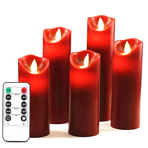 HEIOKEY LED Flameless Candles Red Battery Operated Candles Set of 5 (4