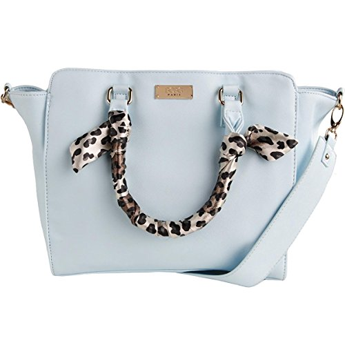 BCBG Paris Womens Faux Leather Animal Print Satchel Handbag Blue (Animal Print Satchel)