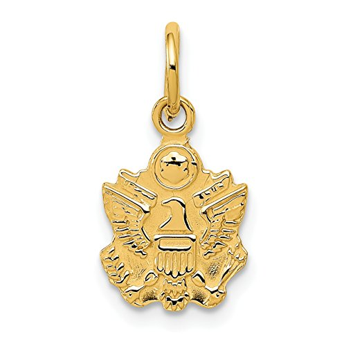 - 14k Yellow Gold United States Army Military Eagle Insignia Charm 16x9mm