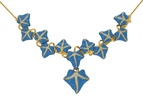 Inspired Treasures Blue Ivy Leaf Necklace - Swarovski Crystal - Licensed by V&A Victoria and Albert Museum, London