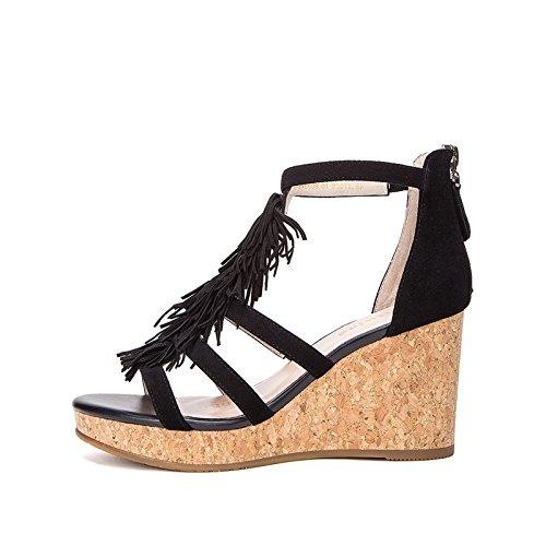 Sólido Mujer Ocasionales Moda Sandalias Dhg De Tacón Bajo Altos Tacones Punta Dulces 38 Verano Zapatillas Planas Color negro ppRSqw