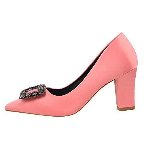 Aalardom Zacht Materiaal Van Vrouwen Stevige Pull-on Puntschoen Hoge Hakken Pumps-schoenen Roze