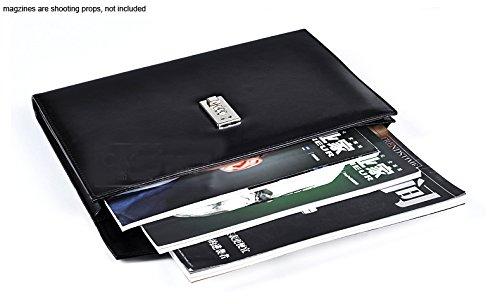 A4 Carpeta de archivo de cuero//cuero Conferencia carpeta de archivos,Carpeta organizadora de documentos port/átil de estilo acorde/ón,negro