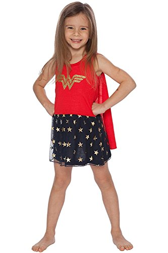 Girls League Tank Top - Wonder Woman Little Girls' Tank Nightgown with Cape, Multi, 6/6X