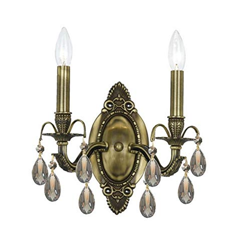 Crystorama Antique Brass Sconce - 5562-AB-GT-MWP Dawson 2LT Wall Sconce, Antique Brass Finish with Golden Teak Hand Cut Crystal