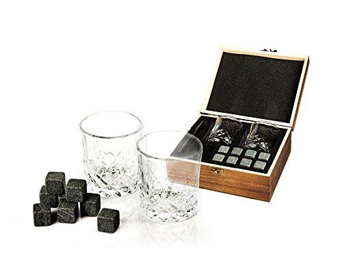 Golden Moose Whiskey Stones Gift Set – 2 Whiskey Glasses (220ml), 8 Exclusive Whiskey Rocks & Velvet Bag + Tongs in a Elegant Wooden Gift Box by Golden Moose (Image #2)