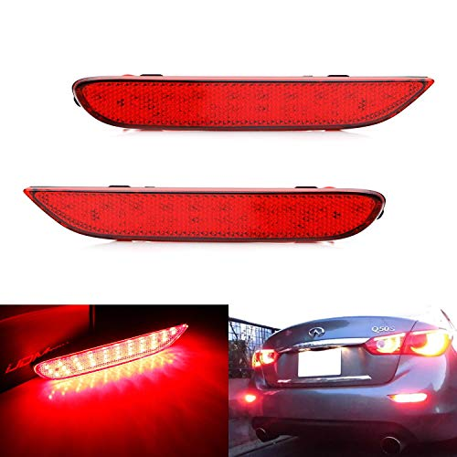 iJDMTOY Red Lens 60-SMD LED Bumper Reflector Lights For Infiniti Q50 QX56 QX60 QX80 Nissan Pathfinder Rogue etc. Function as Tail, Brake & Rear Fog Lamps ()