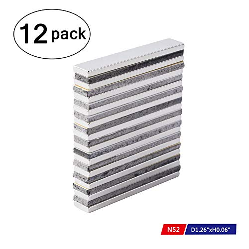 Powerful Neodymium Bar Magnets, N52 Rare-Earth Metal Neodymium Magnet for DIY, Craft - 60 x 10 x 3 mm, Pack of 12 -