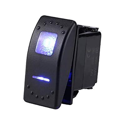 Backlit12v 20 Amp Jiaying Waterproof Red LED On/off Boat Marine, On/Off, Interior, 20A 12V LED Light, Blue: Automotive