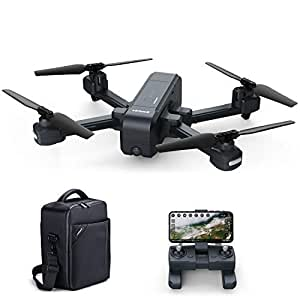 Virhuck Z5 GPS Drone 1080p FHD Camera 5G WiFi FPV Live Video FOV 120° Wide-Angle RC Foldable Quadcopter Adults Beginners Follow Me + Waterproof Bag + Bonus Battery