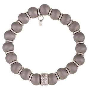 Silvex Women's Silver Beaded Bracelet, Free Size