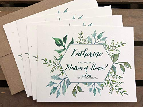 - Personalized Bridal Party Proposal Cards - Greenery leaves - FLAT Cards - Will you be my Bridesmaid - Maid or Matron of Honor - Junior Bridesmaids - Flower Girl - Wedding - Eco Friendly