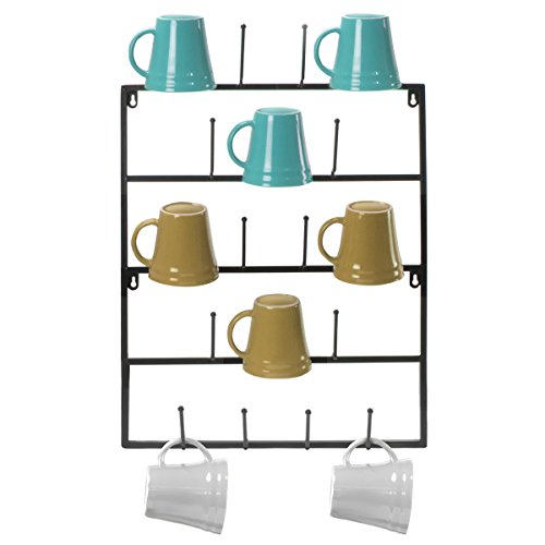 Sorbus Mug Rack Cup Holder - Wall Mounted Home Storage Mug Hooks with 5-Tier Display Organizer for Coffee Mugs, Tea Cups, Mason Jars, and More - Holds 18 Mugs - Black Metal