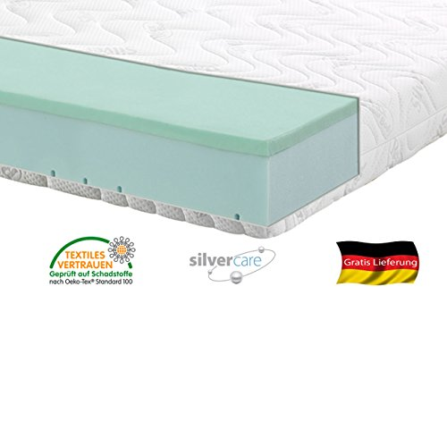 Silver Orthopädische 7 Zonen Premium Silver Care Visco Kaltschaum Matratze Höhe ca. 20 cm 180 x 200 cm H2 - Silver Care Bezug