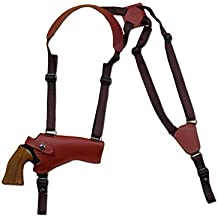 "New Barsony Horizontal Burgundy Leather Shoulder Holster for 4-5"" .38 .357 .41 .44 Revolvers"