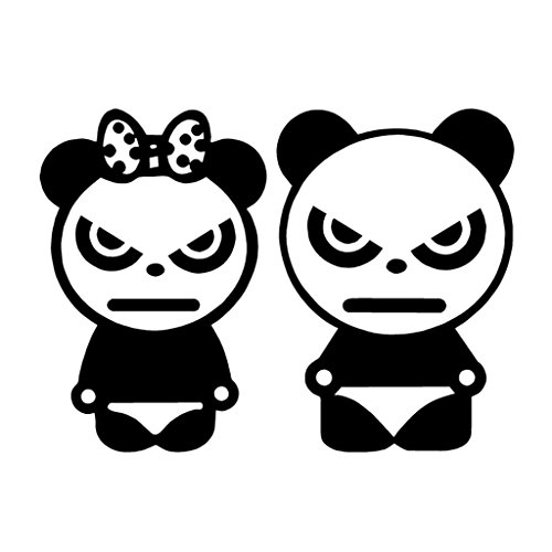 Angry Pandas Vinyl Decal Sticker | Cars Trucks Vans Walls Laptops Cups | Black | 5.5 inches | KCD1324