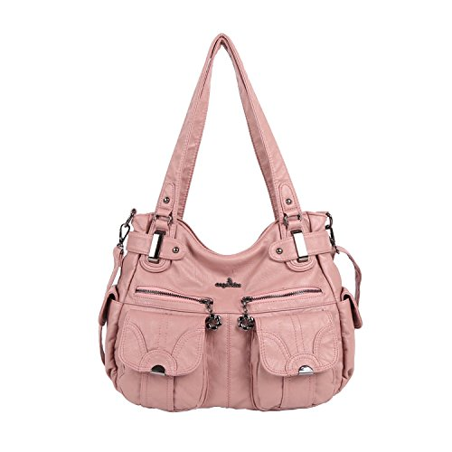 Angelkiss Women's Handbag Large Double Zipper Multi Pocket Washed Shoulder bag Designer Handbags for Women …