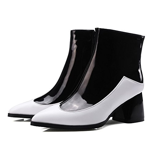 AgooLar Women's Low Boots Zipper Kitten Top Heels Pointed Closed Toe PU White 44ZHWqr7