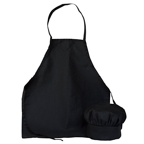 Aprons Cooking Kids (Kids Chef Hat Apron - Kitchen Cooking Baking Wear (M 6-12 Year, Black))