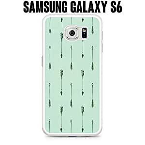 Phone Case Mint Arrow Pattern for Samsung Galaxy S6 EDGE SM-G925 Rubber White (Ships from CA)