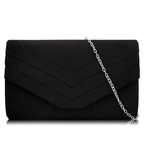 Milisente Women Clutches Velvet Evenlope Evening Bag Classic Clutch Purse (Black) by Milisente