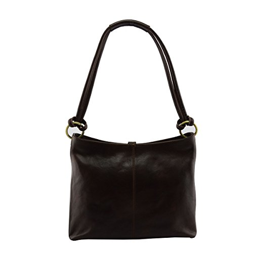 Borsa In Vera Pelle Marrone Scuro - Pelletteria Italiana - Borsa Da Donna