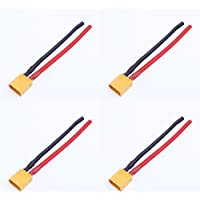 4 x Quantity of Helicopter Quadcopter Airplane Boat Car Controller XT60 Male Connector Wire Lead 100mm 12AWG 200°C Silicon LiPo Power Battery Adapter