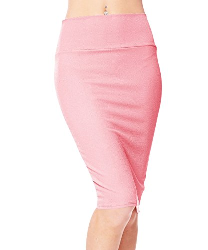 Urban CoCo Women's High Waist Stretch Bodycon Pencil Skirt (S, Pink)