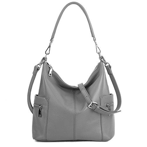 YALUXE Women's Multi Pocket Soft Cowhide Leather Medium Purse Style Shoulder Bag Grey ()