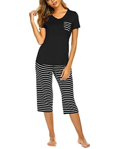 2 Piece Capri Pajama Set - Hotouch Women's Pajama Sets Capri Pants with Short Tops Cotton Sleepwear Ladies Sleep Sets Black XXL