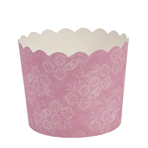 Blue Sky 1248 20 Count Scalloped Floral Cupcake Baking Cups, Small, Pink