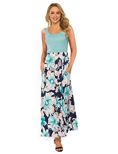 DUNEA Women's Maxi Dress Floral Printed Autumn 3/4 Sleeve Casual Tunic Long Maxi Dress (Medium, Green#2)