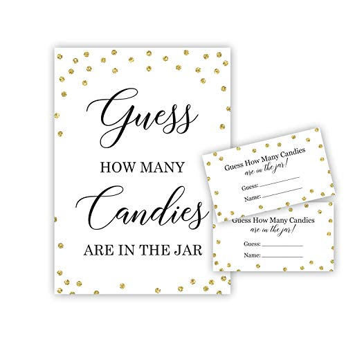 Candy Guessing Baby Shower Game, How Many Candies, Faux Gold Glitter Dots (24 Cards and 1 -