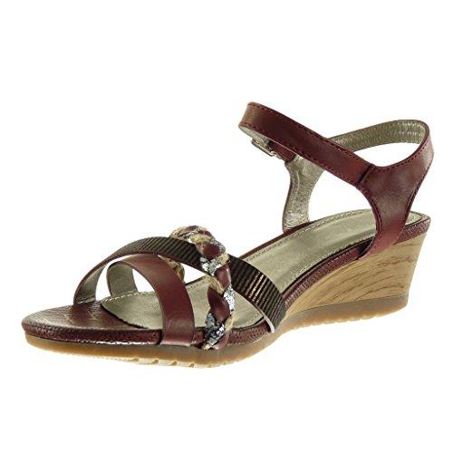 Angkorly - Scarpe da Moda sandali Mules donna tanga intrecciato lucide Tacco zeppa 5 CM - Bordo